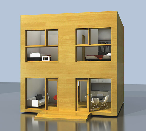 Small two-story modular house