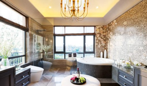 Modern bathroom with views and chandelier