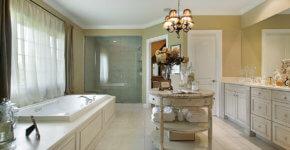Upscale bath retreat with round center vanity