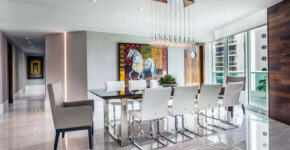 luxury modern dining room with porcelain tile floors and multiple pendant light fixture